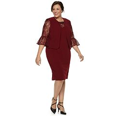 Plus Size Maya Brooke Lace-Trim Sheath Dress & Jacket Set