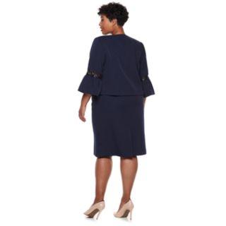 Plus Size Maya Brooke Sequin Flare Sleeve Jacket Dress