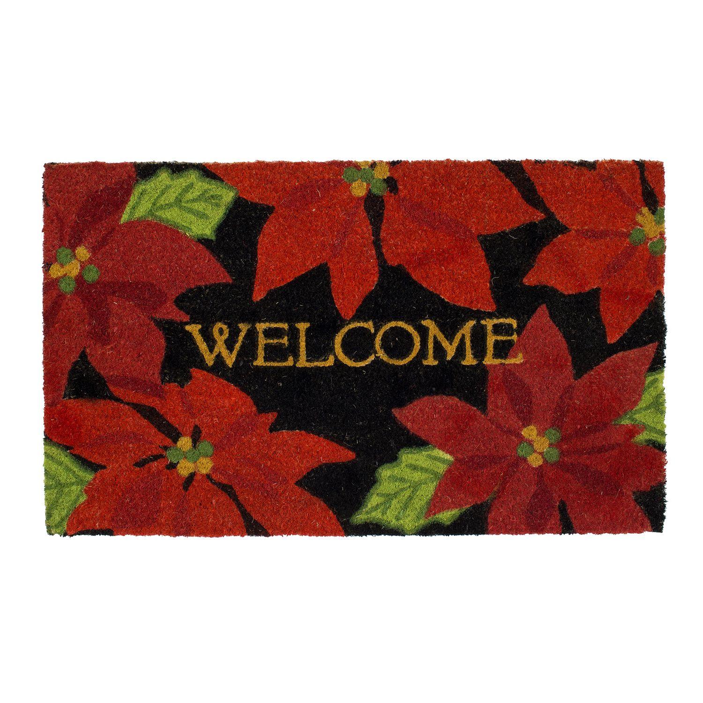 Mohawk® Home Overlapping Poinsettias Welcome Coir Doormat   18u0027u0027 X 30u0027u0027