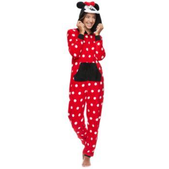 Disney's Minnie Mouse Juniors' Hooded One-Piece Pajamas