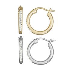 Chrystina Crystal Silver & Gold Tone Hoop Earring Set