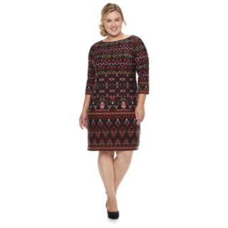 Plus Size Suite 7 Print Sheath Dress