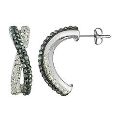 Chrystina Crystal Twisted C-Hoop Earrings