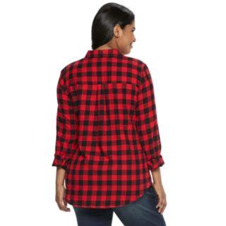 Juniors' Plus Size SO® Button-Front Flannel Shirt