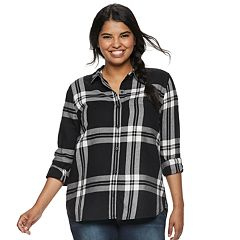 Juniors' Plus Size SO® Button-Front Flannel Shirt