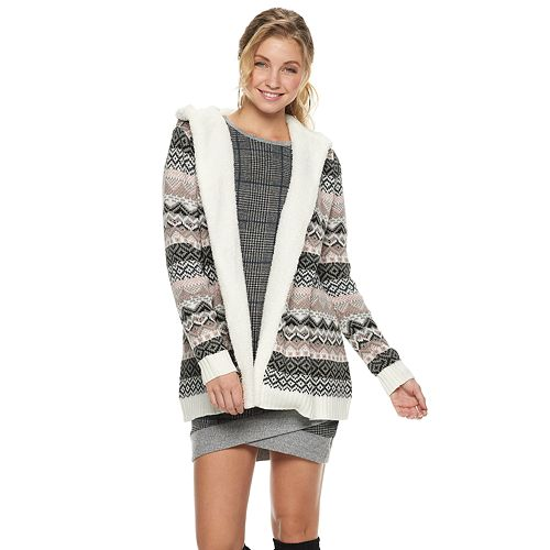 Juniors' Almost Famous Sherpa-Lined Hooded Cardigan