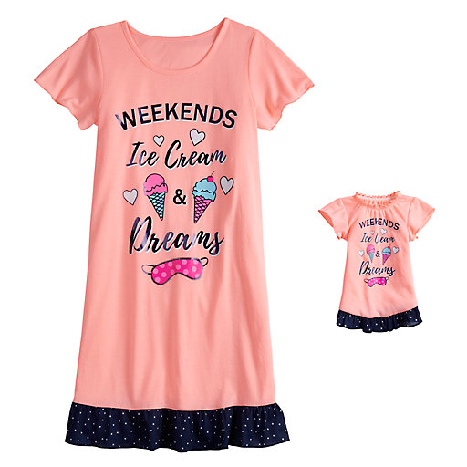 432d1a7bb Girls 4-16 & Plus Size SO® Short Sleeve Dorm Nightgown & Doll Nightgown