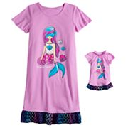 Girls 4-16 & Plus Size SO® Short Sleeve Dorm Nightgown & Doll Nightgown Set
