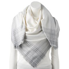 Women's LC Lauren Conrad Ombre Plaid Trim Square Blanket Scarf