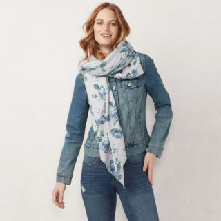 Women's LC Lauren Conrad Floral Square Blanket Scarf