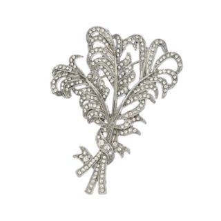 Simply Vera Vera Wang Simulated Crystal Feather Bunch Pin