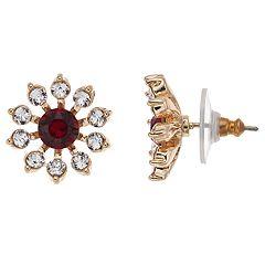 Dana Buchman Swarovski Crystal Snowflake Button Stud Earrings