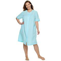 9aec28586c Plus Size Miss Elaine Essentials Short Seersucker Snap Robe
