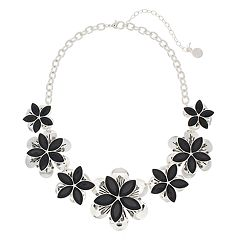 Dana Buchman Simulated Crystal Flower Motif Short Statement Necklace