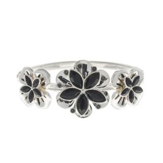 Dana Buchman Simulated Crystal Flower Motif Hinge Bracelet