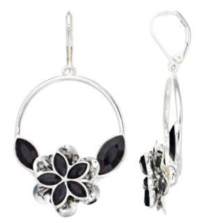 Dana Buchman Simulated Crystal Flower Motif Hoop Drop Earrings