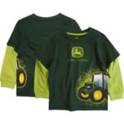 Toddler Boy John Deere Mock Layer Front & Back Tractor Graphic Tee