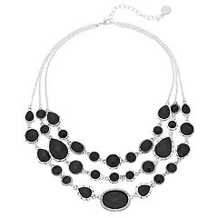 Dana Buchman Simulated Crystal Textured Multi Strand Statement Necklace