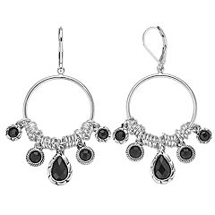 Dana Buchman Simulated Crystal Textured Ring Detail Drop Hoop Earrings