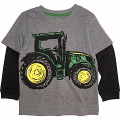 Toddler Boy John Deere Mock Layer Tractor Graphic Tee