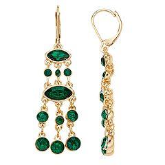 Napier Green Crystal Chandelier Drop Earrings