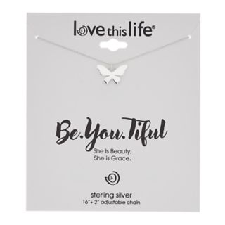love this life Sterling Silver Butterfly Pendant Necklace