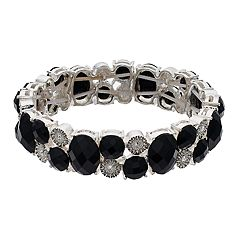 Napier Faceted Black Crystal Stretch Bracelet