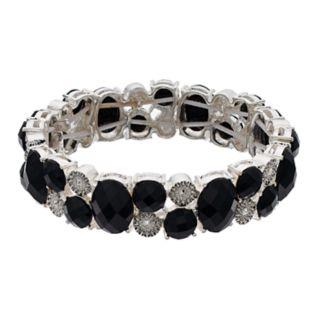 Napier Faceted Black Crystal Stretch Bracelet