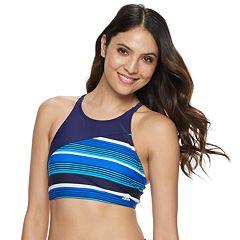 Women's adidas Striped High-Neck Crop Bikini Top