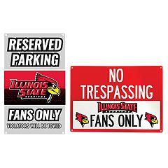 Illinois State Redbirds Metal Sign Set