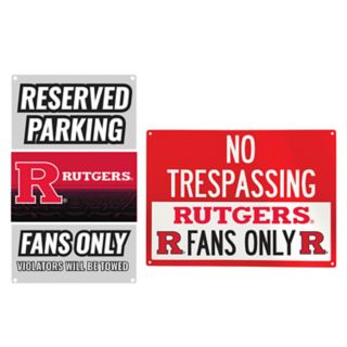 Rutgers Scarlet Knights Metal Sign Set