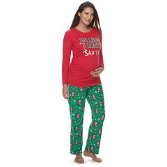 Maternity Jammies For Your Families 'Be Nice I Know Santa' Top & Santa Microfleece Bottoms Pajama Set