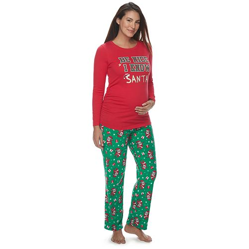 "Maternity Jammies For Your Families ""Be Nice I Know Santa"" Top & Santa Microfleece Bottoms Pajama Set"