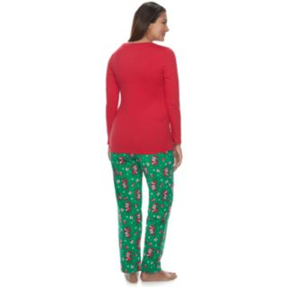 "Maternity Jammies For Your Families ""Be Nice I Know Santa"" Top & Santa Microfleece Bottoms Pajama Set"