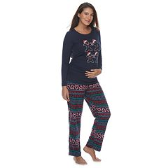 Maternity Jammies For Your Families Gingerbread Man Holiday Top & Fairisle Microfleece Bottoms Pajama Set