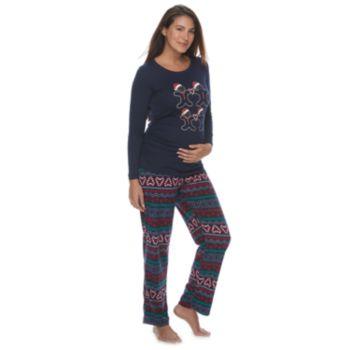 Maternity Jammies For Your Families Gingerbread Man Holiday Top & Fairisle Microfleece Bottoms Pajama Set