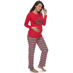 Maternity Jammies For Your Families 'This Family Loves Christmas' Top & Microfleece Striped Bottoms Pajama Set