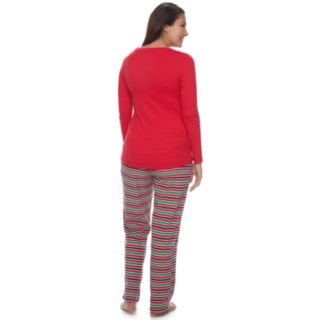 """Maternity Jammies For Your Families """"This Family Loves Christmas"""" Top & Microfleece Striped Bottoms Pajama Set"""
