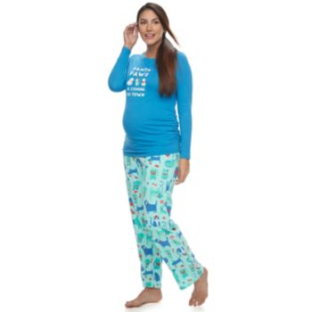 "Maternity Jammies For Your Families ""Santa Paws is Coming to Town"" Top & Microfleece Dog & Cat Pattern Bottoms Pajama Set"