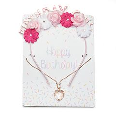 Girls 4-16 Elli by Capelli Floral 'Birthday Girl' Headband & Heart Necklace Set