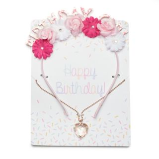 "Girls 4-16 Elli by Capelli Floral ""Birthday Girl"" Headband & Heart Necklace Set"