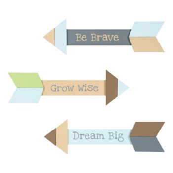 "Trend Lab Arrows 3-Piece ""Be Brave, Grow Wise, Dream Big"" Wall Décor Set"