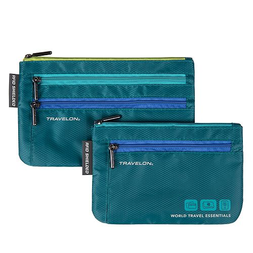 Travelon World Travel Essentials Set of 2 Currency and Passport Organizers Tote