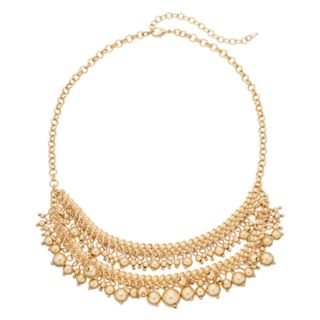 Napier Gold Tone Chain & Bead Detail Short Layered Necklace