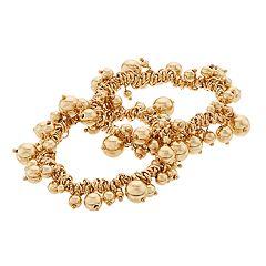 Napier Gold Tone Chain & Bead Detail Bracelet Set