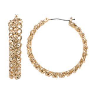 Napier Gold Tone Chain Detail Hoop Earrings