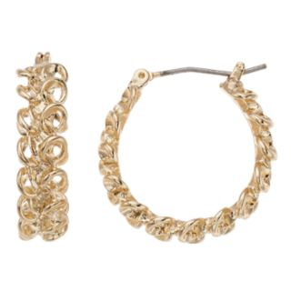 Napier Gold Tone Chain Detail Small Hoop Earrings