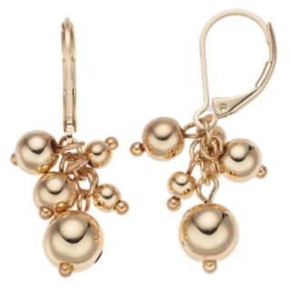 Napier Gold Tone Bead Cluster Detail Drop Earrings