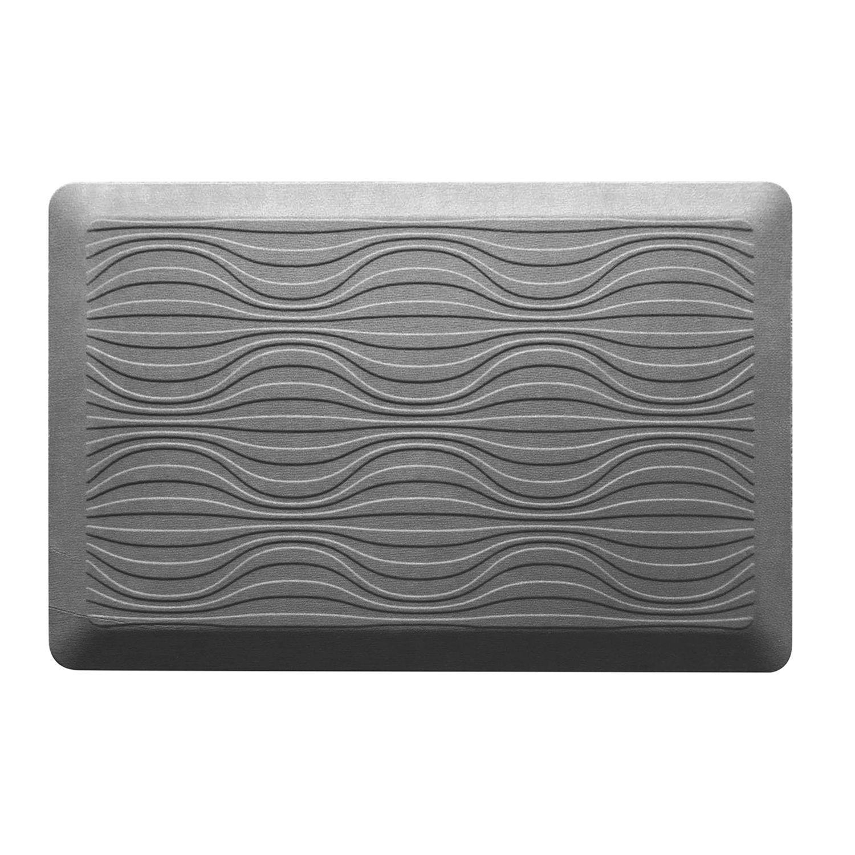 KCARE Cushioned Geometric Kitchen Mat   20u0027u0027 X 32u0027u0027. Brown Gray
