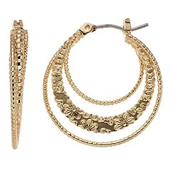 Napier Gold Tone Floral Hoop Earrings